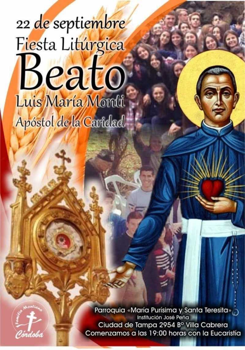 22 de Septiembre Fiesta del Beato Luis Monti